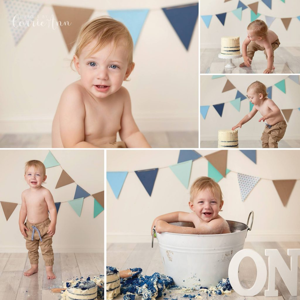 blue and brown themed cake smash with naked cake