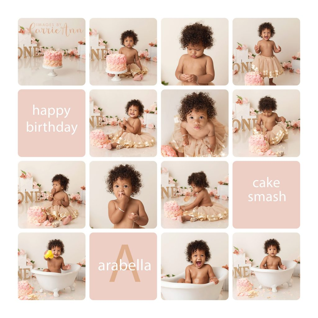 floral pink and gold themed cake smash session one year old girl