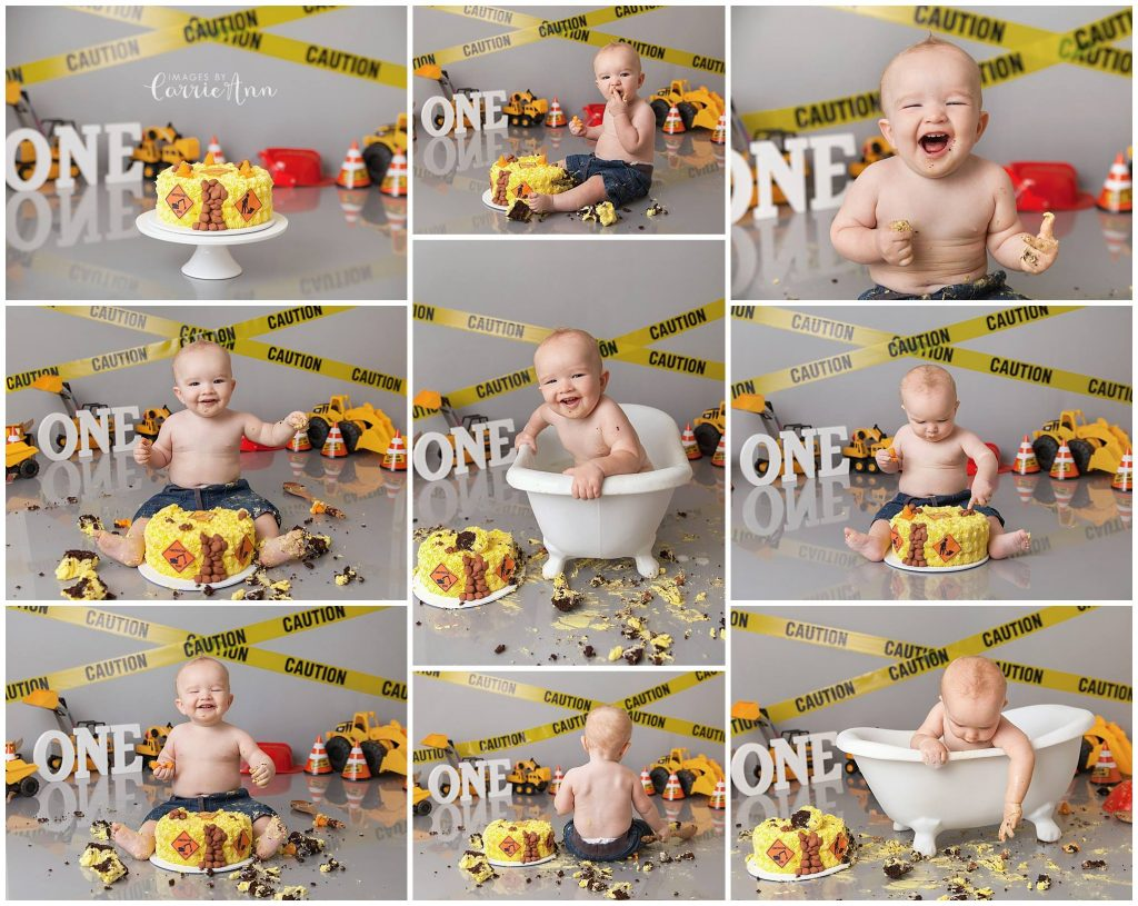 construction themed cake smash session with baby boy