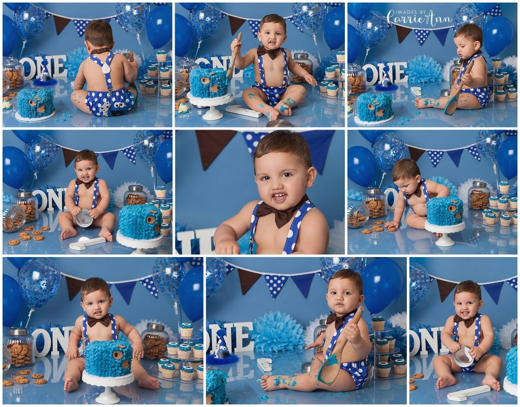 Cookie Monster themed cake smash session for one year old