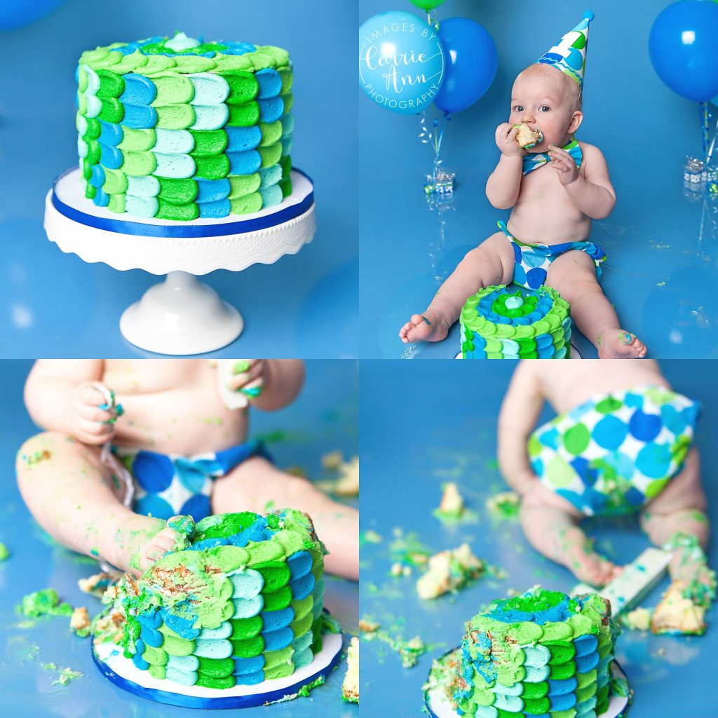 blue and green cake smash session with baby boy
