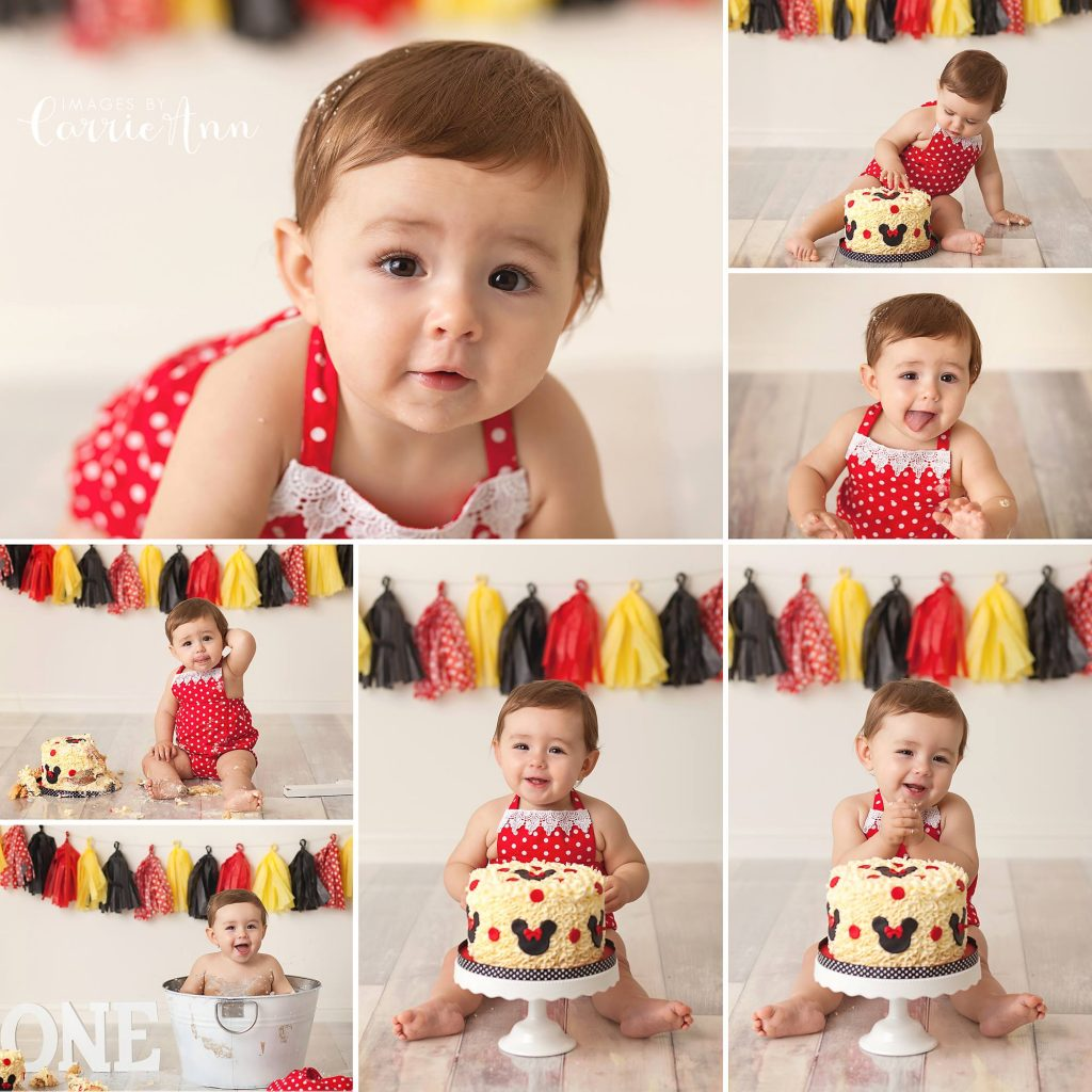 Minnie Mouse cake smash session for one year old girl