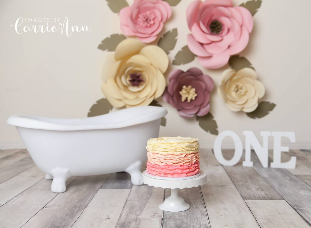 paper flowers themed cake smash session