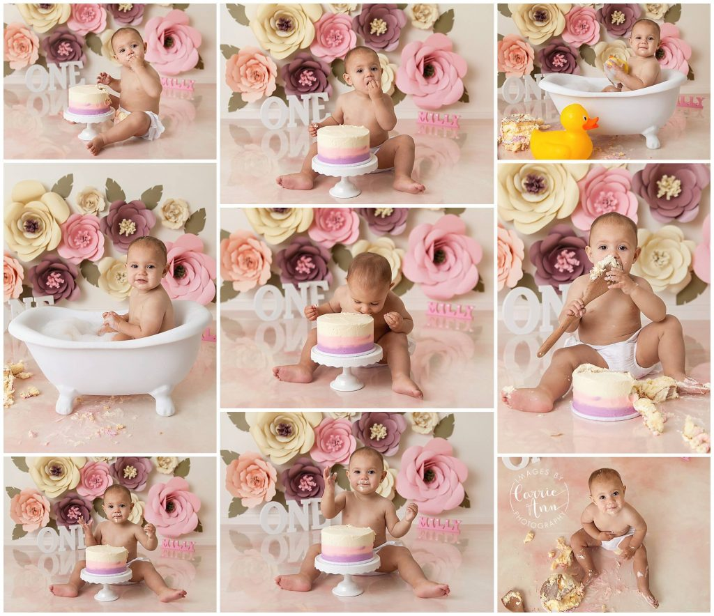 classic paper flower cake smash session with baby girl