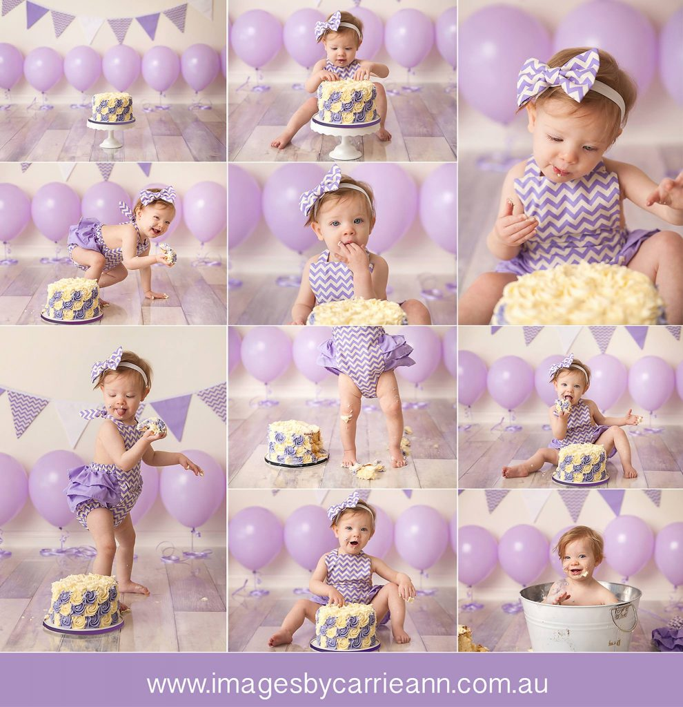 purple themed cake smash with balloons