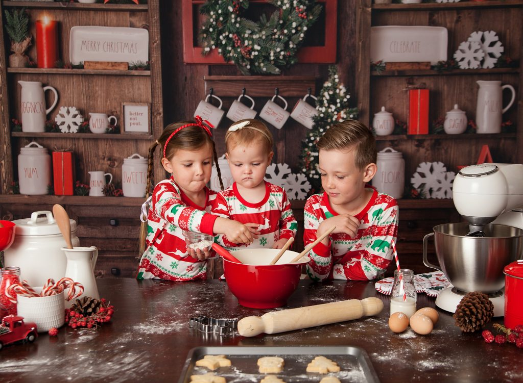 kids in warm cosy kitchen baking together